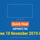 Quick Heal Supports Windows 10 November 2019 Update